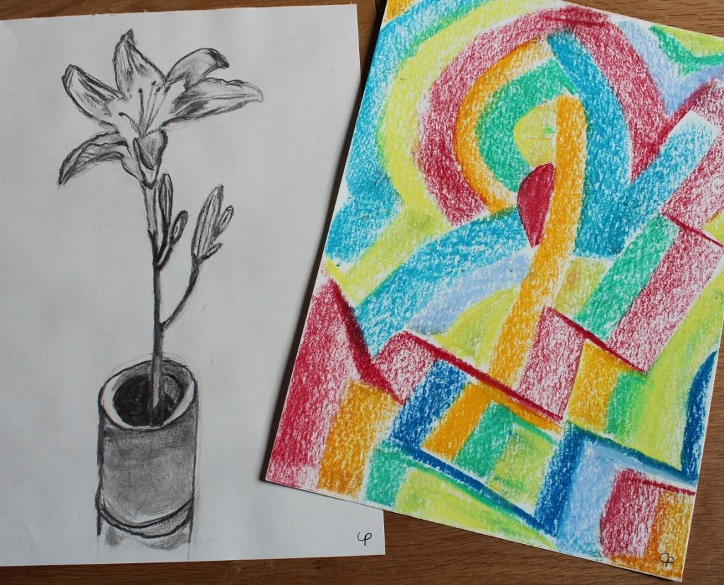 Hémérocalle au fusain et dessin spontané au pastel gras - 21x29,7cm